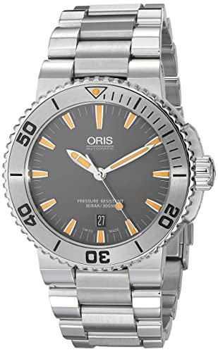 Oris Men s 73376534158MB Aquis Analog Display Swiss Automatic Silver Watch