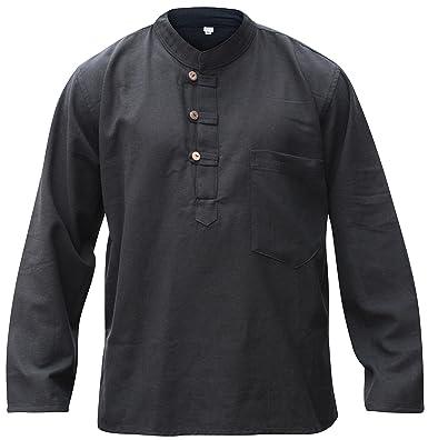 SHOPOHOLIC FASHION Black Hemp Cotton Collarless Grandad Shirt ...