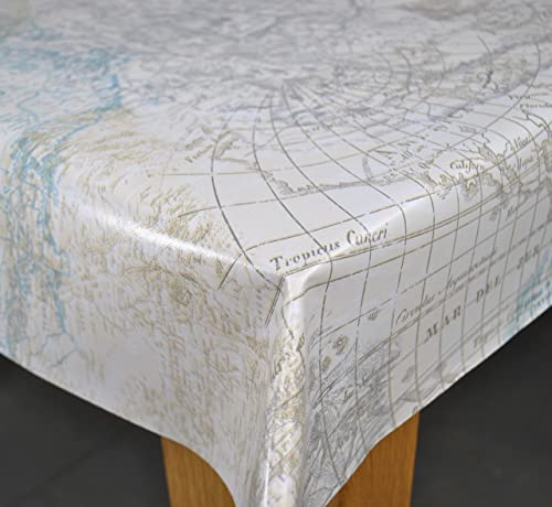 World atlas map on blue wipe clean oilcloth tablecloth 132cm x 1 maps of the world duckegg pvc 200 x 140cm wipe clean tablecloth by karina home gumiabroncs Choice Image