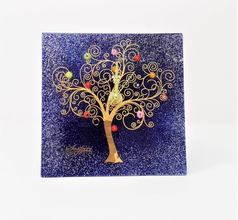 SOSPIRI VENEZIA Horloge en verre de Murano arbre de vie 10 x 30 cm technique vitrofusion fabriqu/ée /à la main par des artisans v/énitiens d/écoration murrine de Murano et feuille or