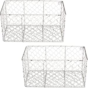 DII Wall Basket Vintage Farmhouse Chicken Wire, Small - Set of 2, Antique White