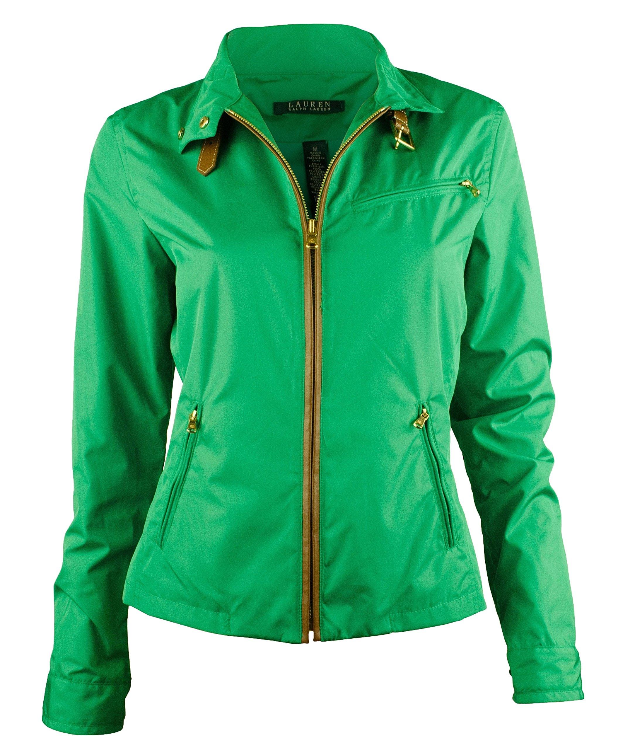 Ralph Lauren Women's Buckle-Collar Mockneck Jacket Coat (Small, Cym Green)