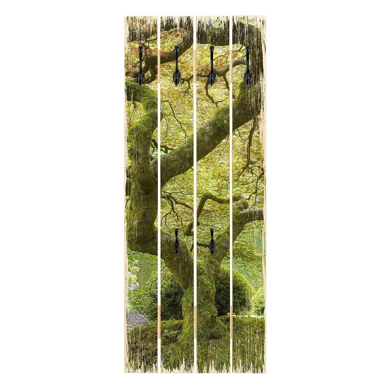 Bilderwelten Wandgarderobe Holz - Japanischer Garten - Haken schwarz - Hoch, 100cm x 40cm