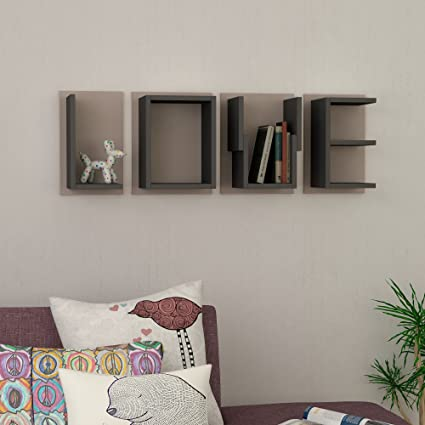 Amazon.com: LOVE White Dark Oak Wall Shelf Wall Mountable with ...