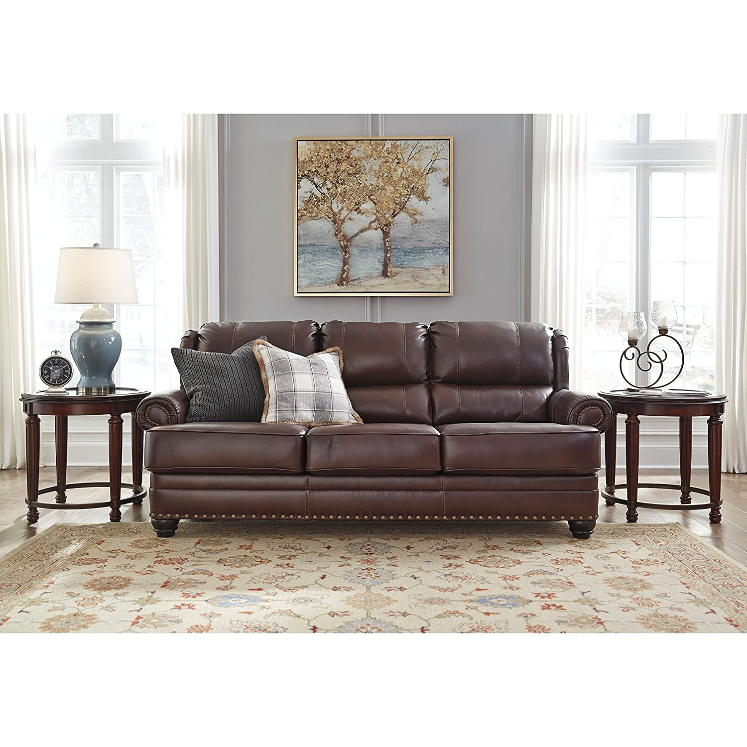 Amazon.com: Ashley Furniture Signature Design - Glengary Sofa - Traditional  Style Couch - Chestnut: Kitchen & Dining