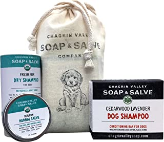 product image for Chagrin Valley Soap & Salve Pooch Pouch, Organic Dog Shampoo & Dry Shampoo Bundle