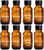 NAWAB Set of 8 Essential Aroma Diffuser Oil (Lavender, Lemongrass, Rose, Jasmine, Citronella, Eucalyptus, Sandalwood & Mogra - 15ml Each)