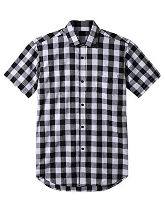 1e38d21f548 Dioufond Men s Casual Cotton Short Sleeve Button Down Plaid Dress Shirts  with Pocket at Amazon Men s Clothing store