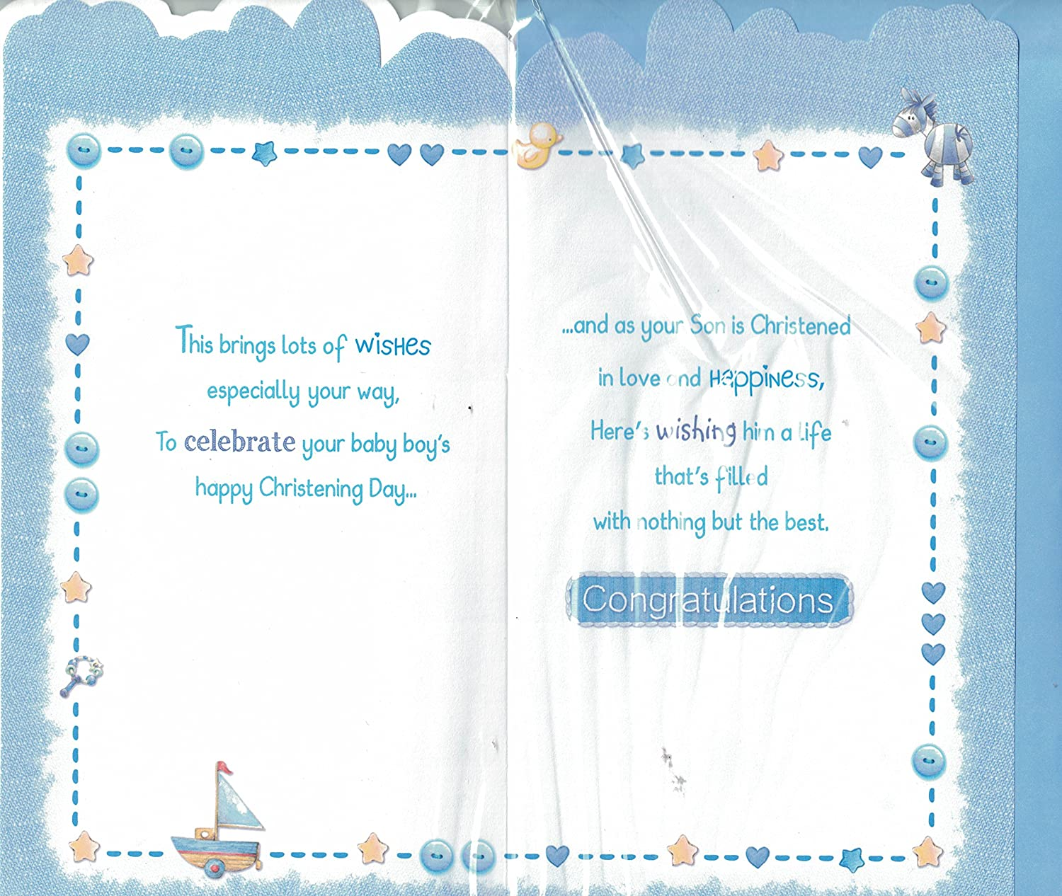 Baby boy christening card sending warmest wishes on your sons baby boy christening card sending warmest wishes on your sons christening day amazon toys games kristyandbryce Choice Image