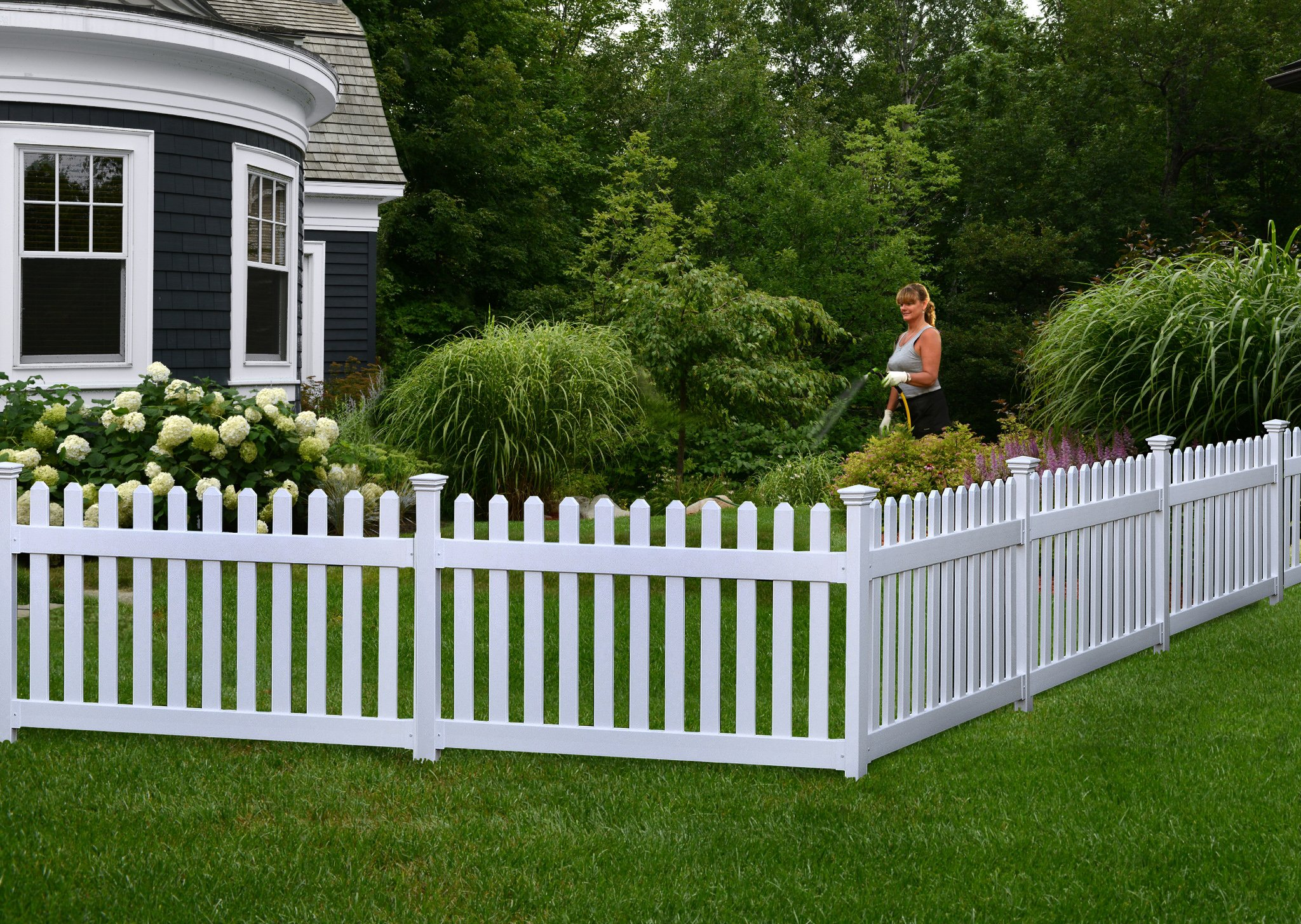 Zippity Outdoor Products ZP19002 High No-Dig Newport Vinyl Permanent Picket Unassembled Yard Fence, 36'', White by Zippity Outdoor Products