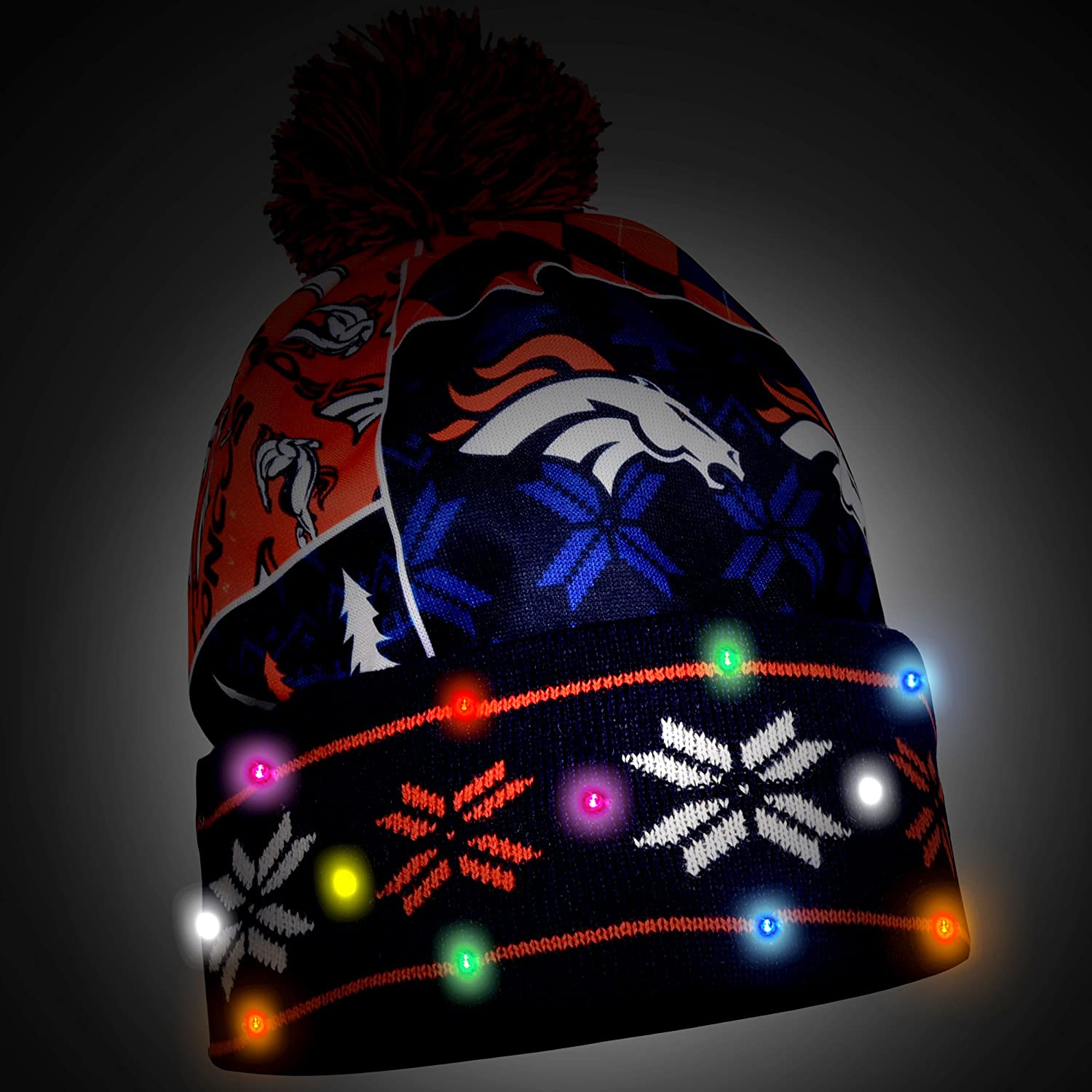 Denver Broncos Exclusive Busy Block Printed Light Up Beanie