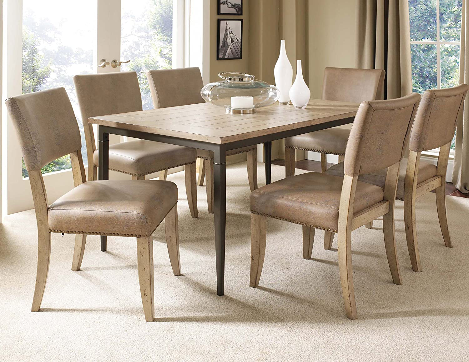 Amazon.com   Hillsdale Charleston 7 Piece Rectangular Dining Set With Parson  Chairs   Chairs