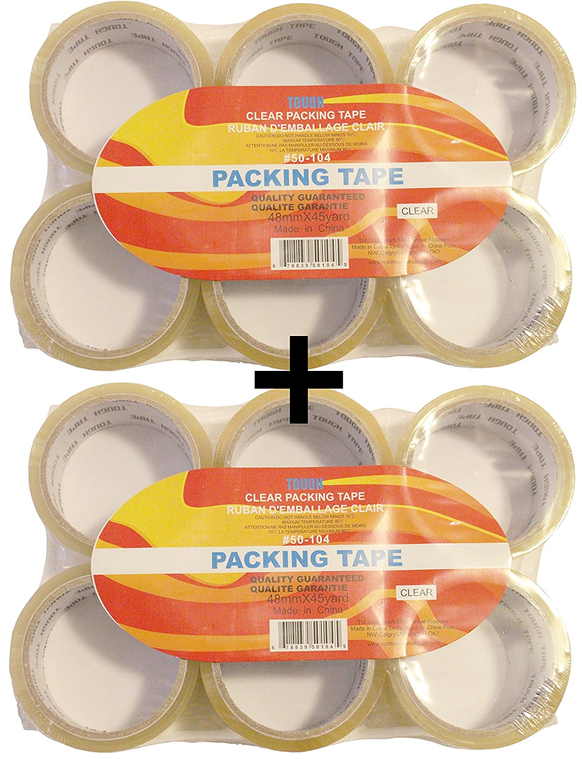 Extra Sticky Tough Clear Shipping Packaging Tape, 48mm x 45yard Per Roll, 12 Rolls