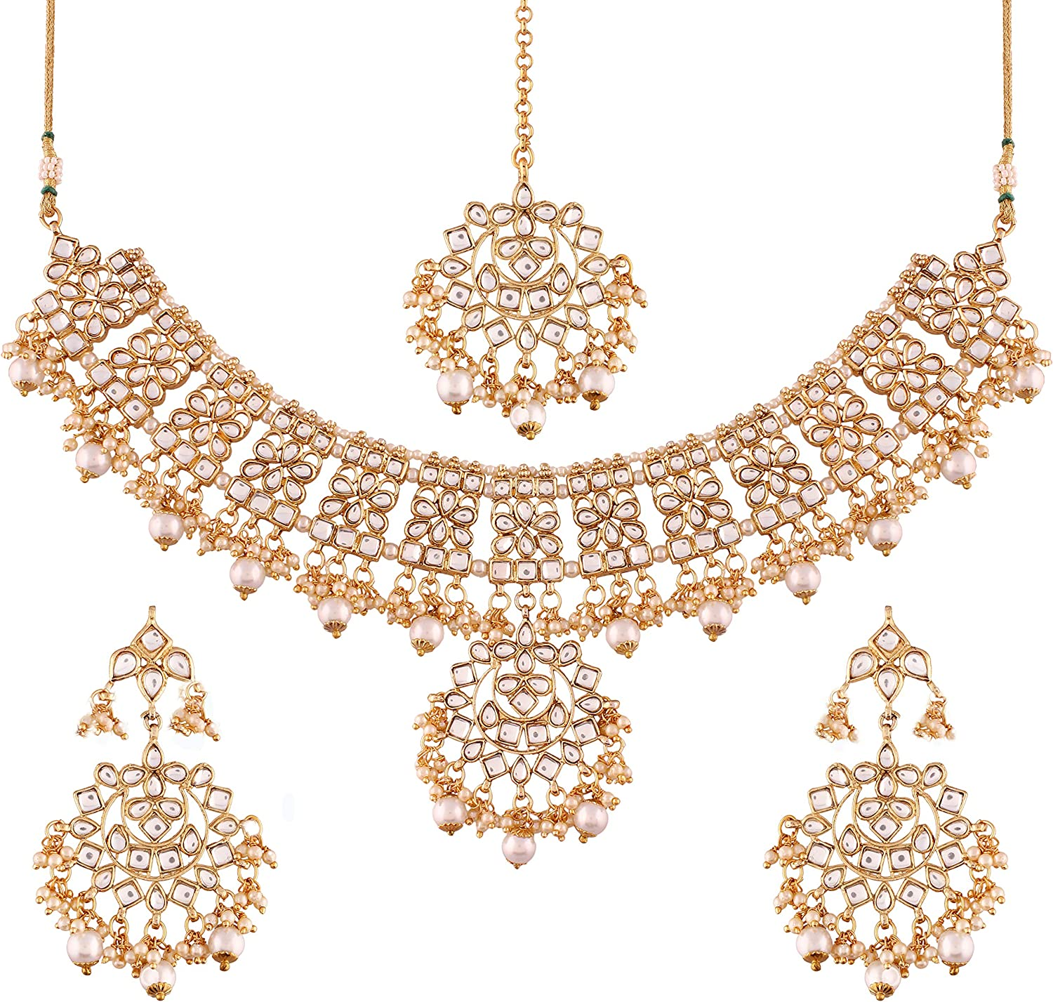 I Jewels Traditional Gold Plated Kundan /& Pearl Necklace Jewellery Set for Women K7057W