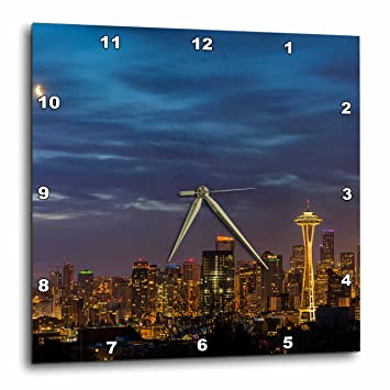 3dRose City Skyline de Kerry Park en Downtown Seattle, Washington - Reloj de Pared, 33 x 33 cm (DPP_260471_2): Amazon.es: Hogar