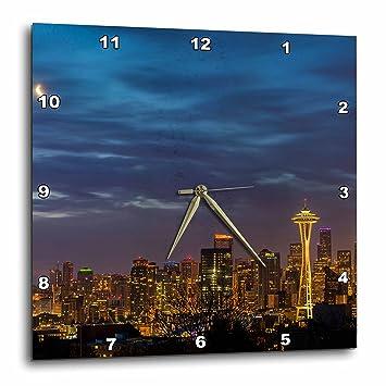 3dRose City Skyline de Kerry Park en Downtown Seattle, Washington - Reloj de Pared, 33 x 33 cm (DPP_260471_2): Amazon.es: Hogar