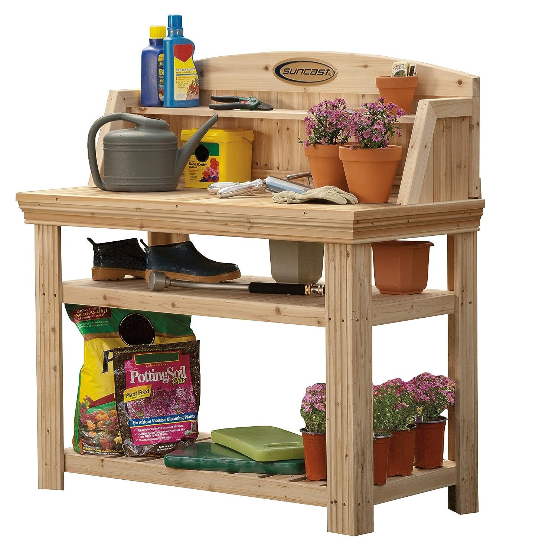 Suncast Cedar Freestanding Bench Ideal for Garages, Sheds, Basements – Organize Garden Equipment Supplies, Pots, Watering Cans – Hardware Included