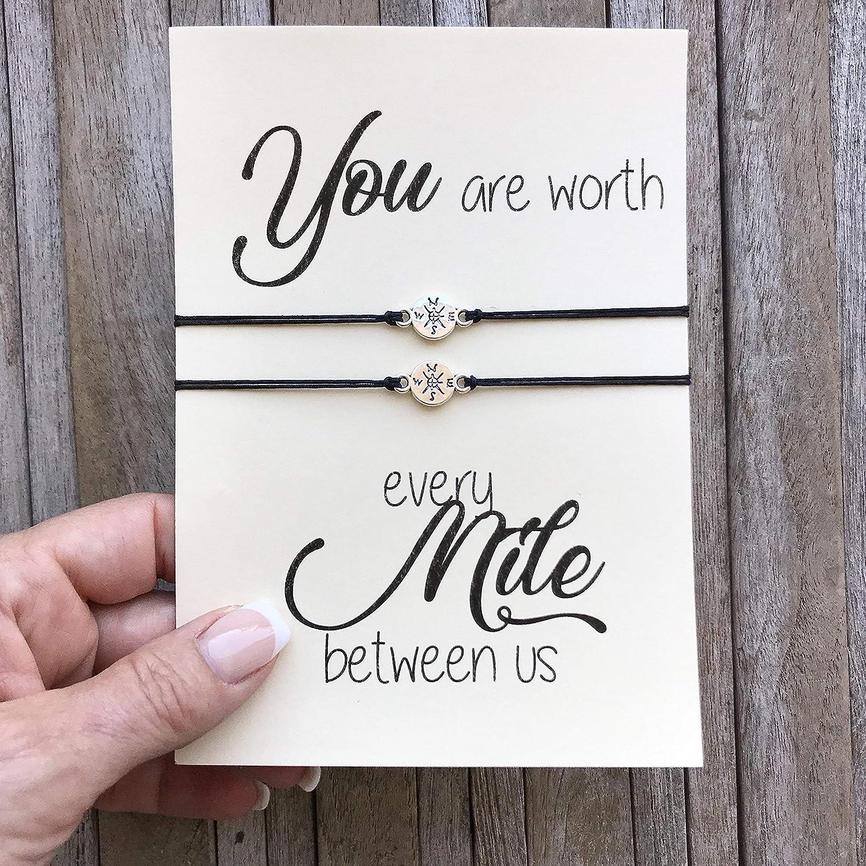 Long distance relationship gifts, Matching bracelet set of 2, Compass bracelet, Love bracelet, Long distance love, Boyfriend gift