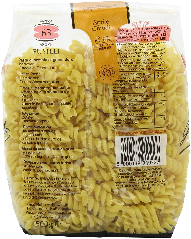 Garofalo Pasta Seca Fusilli - Paquete de 4 x 500 gr - Total: 2000 gr: Amazon.es: Amazon Pantry