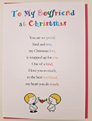 To My Boyfriend at Christmas - Cute Christmas Luxury Greetings Cards by Clarabelle Cards 5 x 7 inches