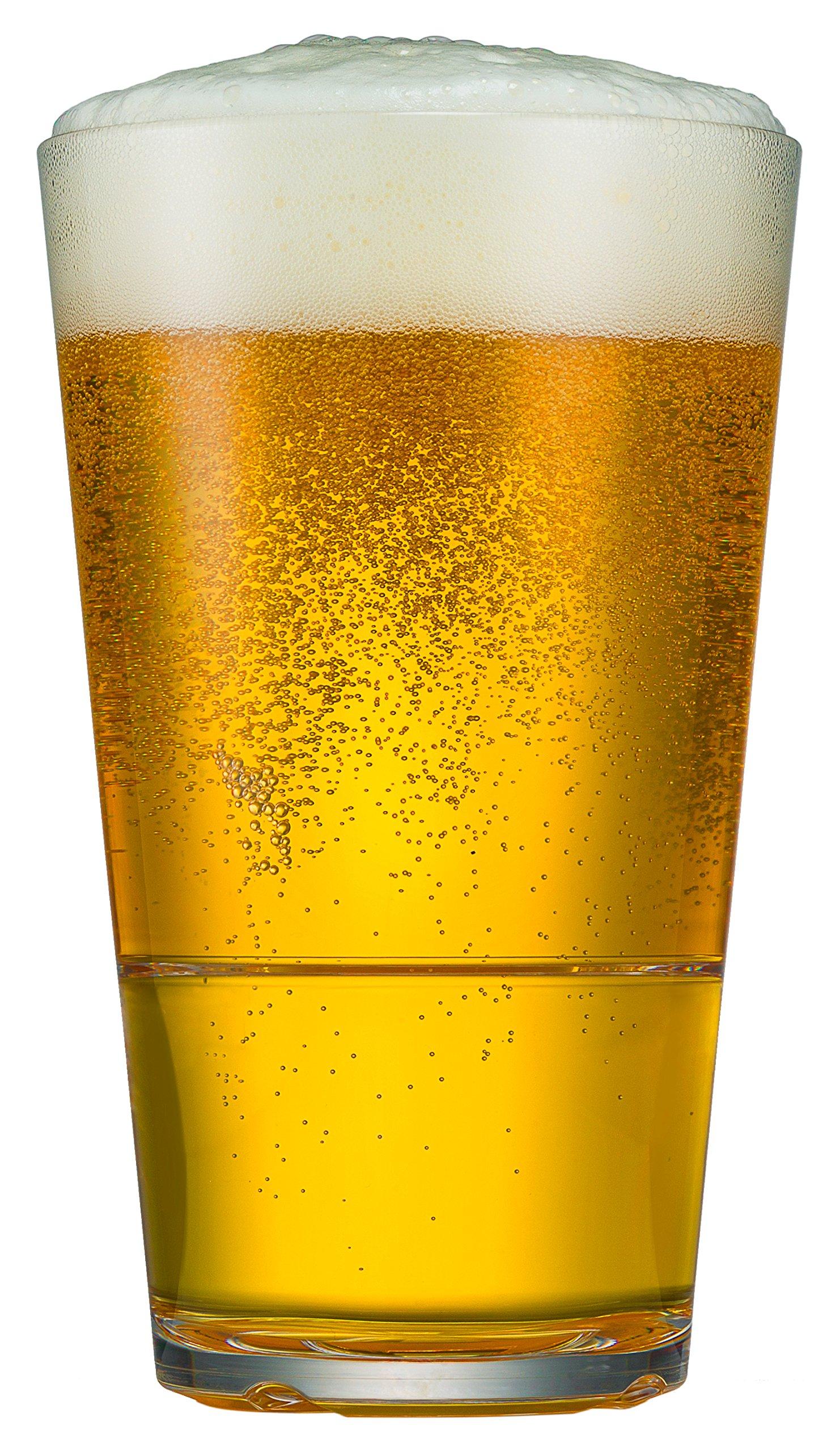 Drinique Caliber Cooler 22 oz. Large Beer Glass - Unbreakable Freezer Safe, BPA-free, Premium Tritan Plastic Tumbler (Case of 24, Clear)