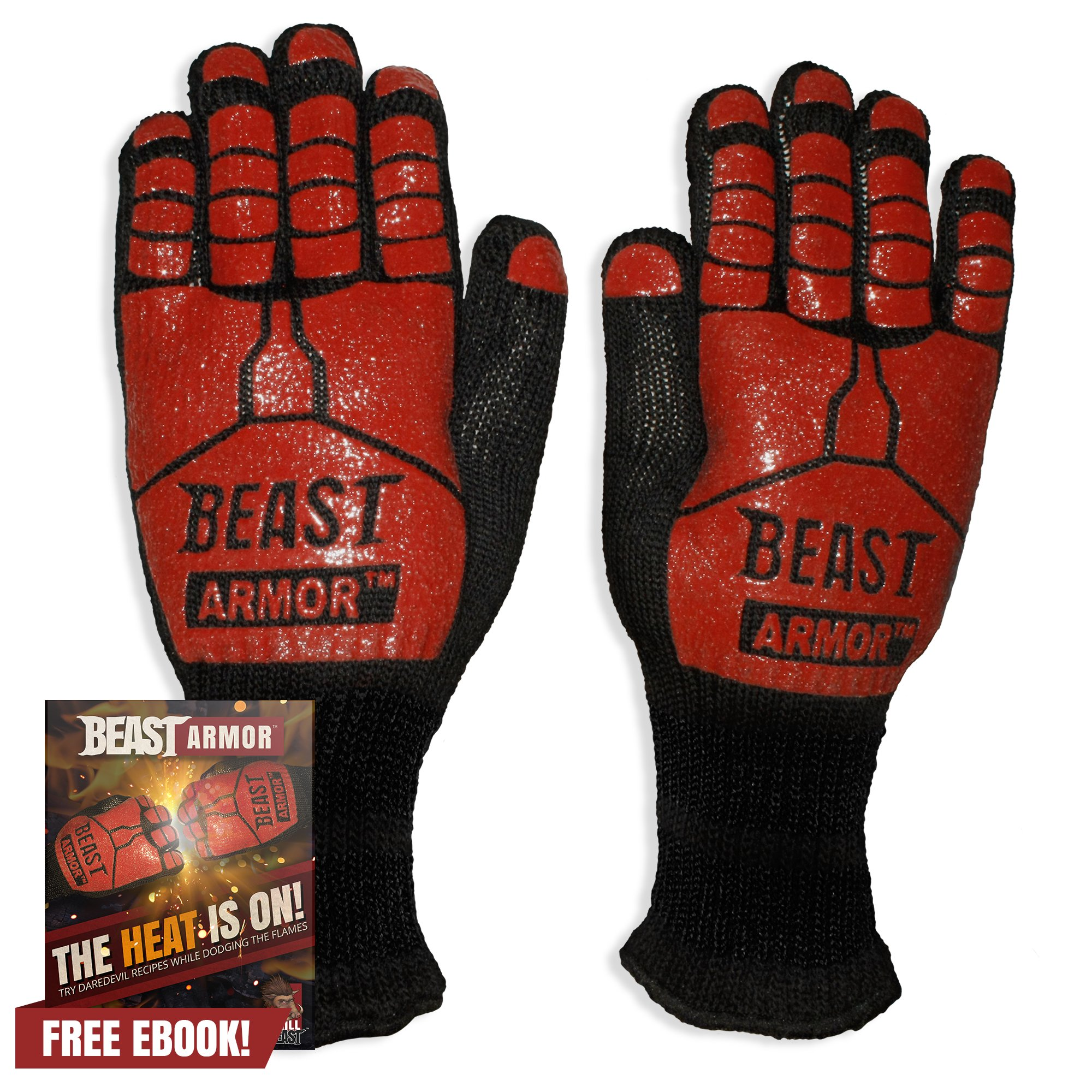 Grill Beast BBQ Grilling Cooking Gloves - Heat Resistant & Silicone Insulated Protection - Smoker Accessories by Grill Beast