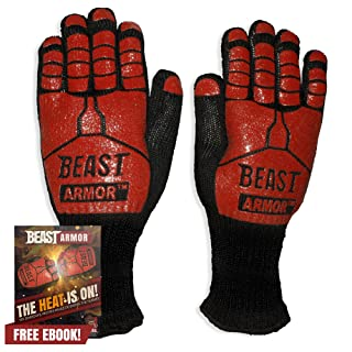 Grill Beast BBQ Grilling Cooking Gloves - Heat Resistant Kevlar & Silicone Insulated Protection - Smoker Accessories