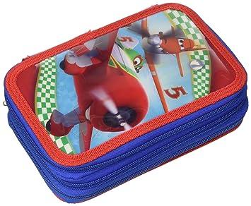 Aviones - Estuche con 3 cremalleras, color azul y rojo ...