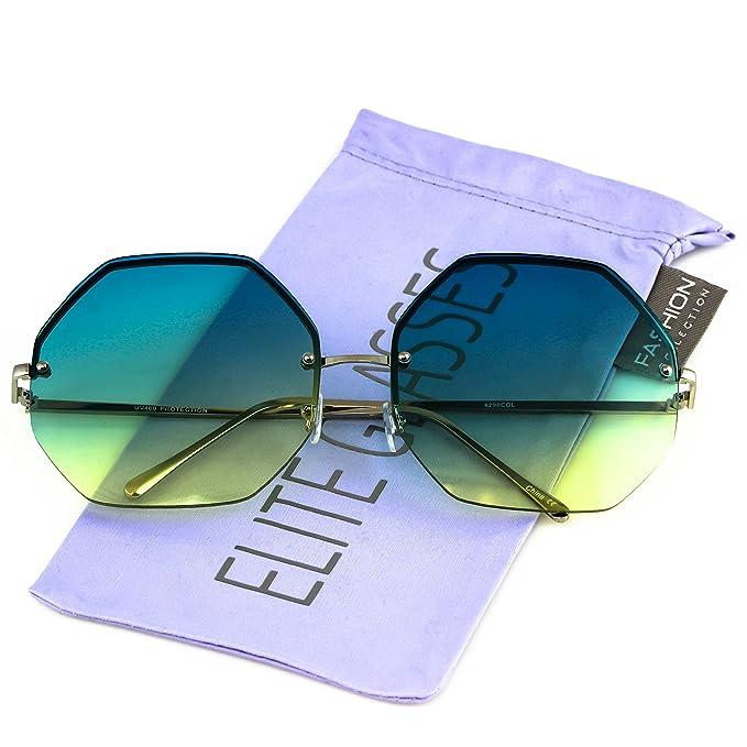 4dd269d7f2 Elite Glasses HUGE OVERSIZED LARGE VINTAGE OCTAGON Rimless RETRO Style  SUNGLASSES (Blue Yellow