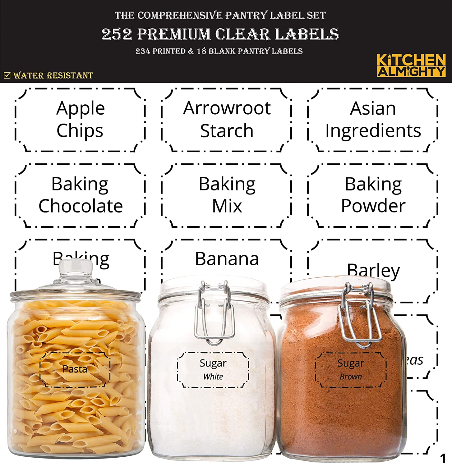 252 preprinted 3 x 1 5 clear pantry labels set w extra write on stickers for jars bottles containers canisters include an exclusive numbered