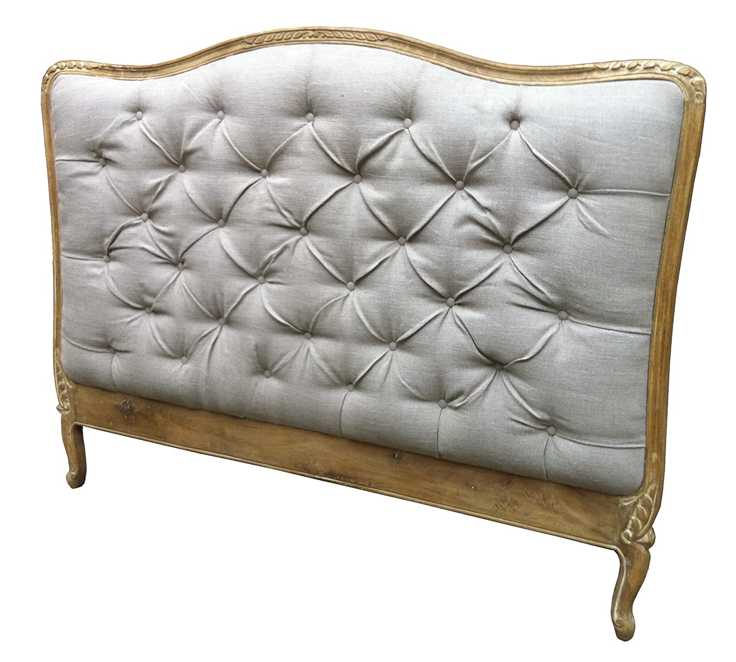 french style shabby chic upholstered headboard king size in retro touch finish upholstery in natural