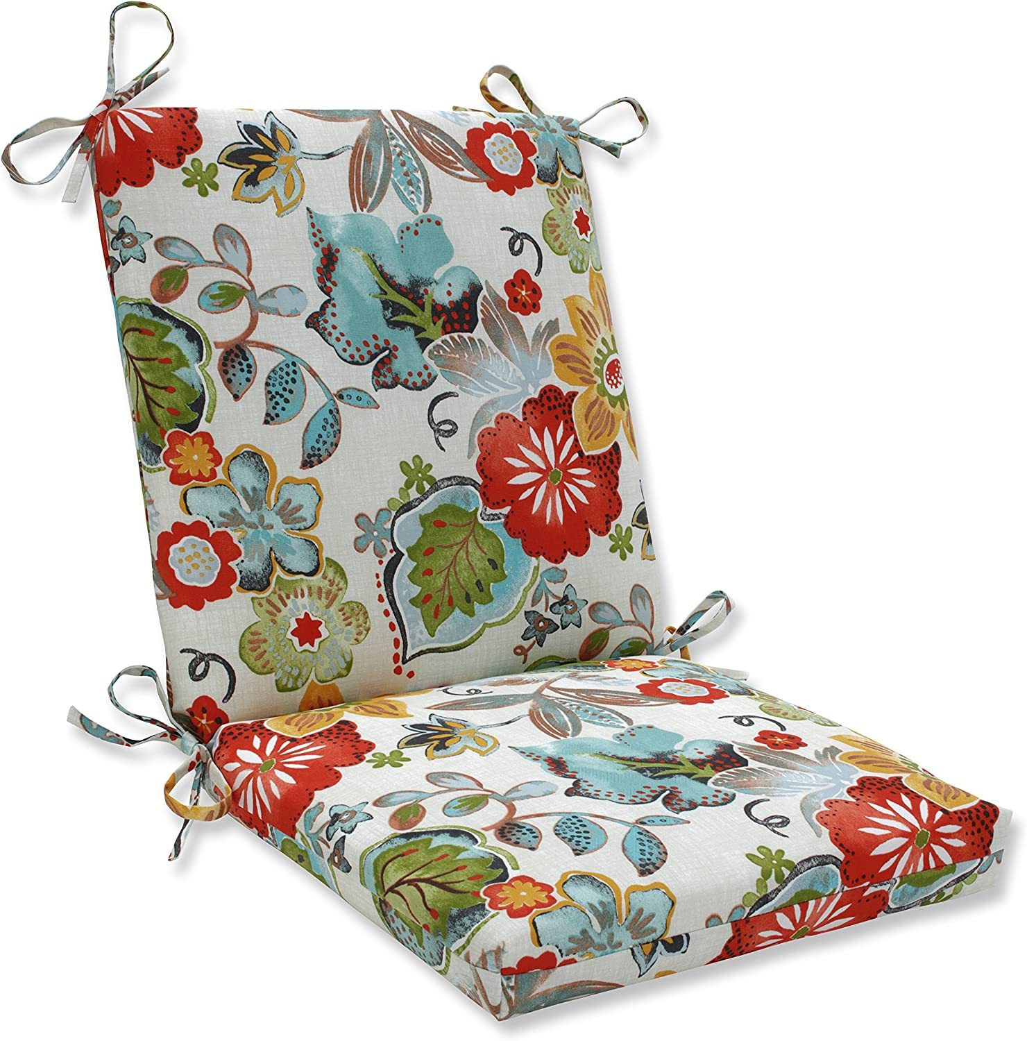 """Pillow Perfect Outdoor/Indoor Alatriste Ivory Square Corner Chair Cushion, 36.5"""" x 18"""", Floral"""