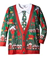 Faux Real Men's Big-Tall Ugly X-Mas Cardigan Long Sleeve T-Shirt