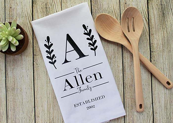 Amazon Com Custom Personalized Tea Towel With Initial Family Name