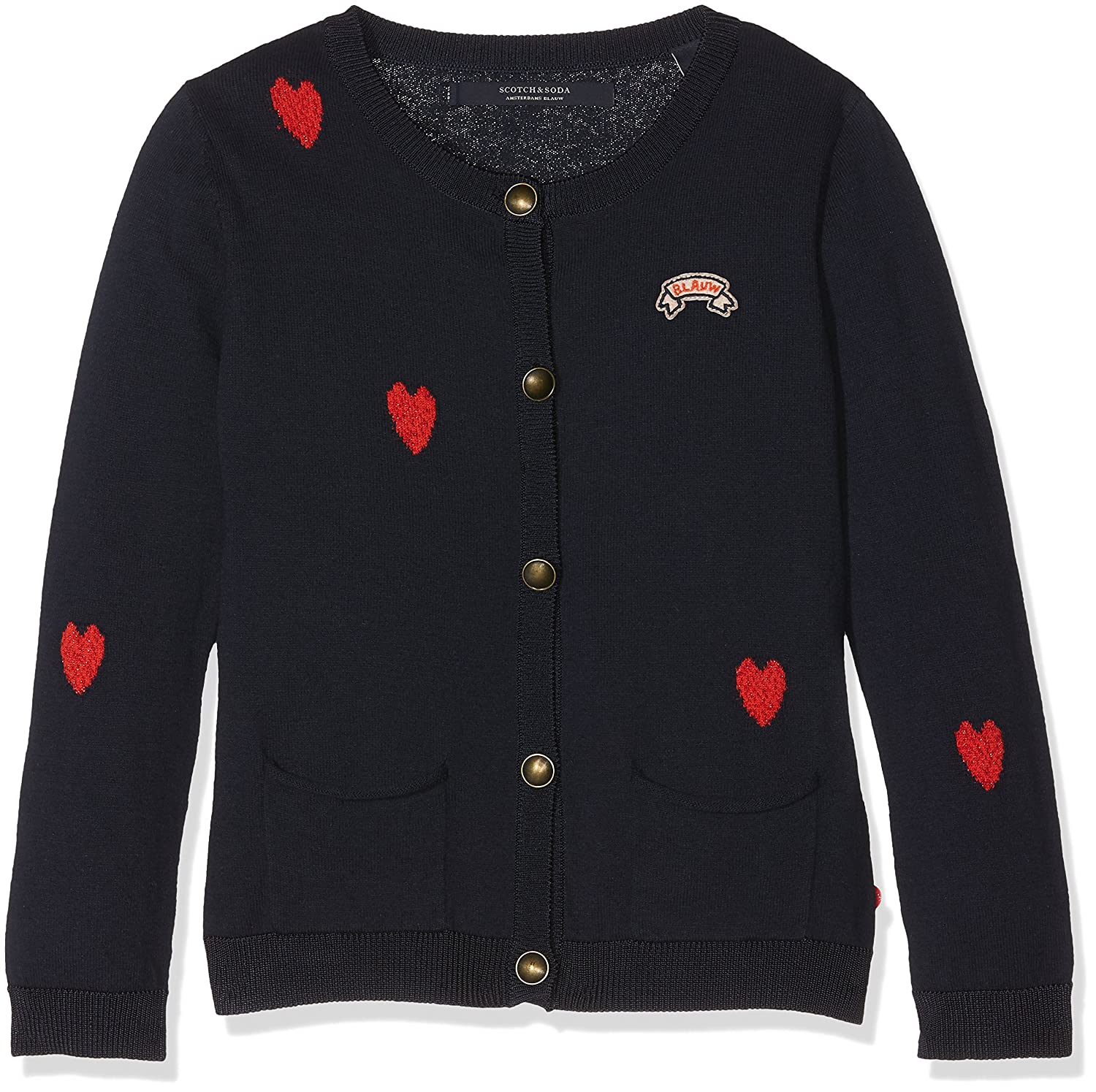 MultiCouleure (Combo B 22)  Scotch & Soda Heart Intarsia Cotton voituredigan, Pull Fille