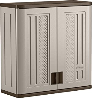 "product image for Suncast BMC3000 Cabinet-Resin Construction for Wall Mounted Garage Storage, 30.25"" Organizer Doors & Slate Top, Silver/Platinum"
