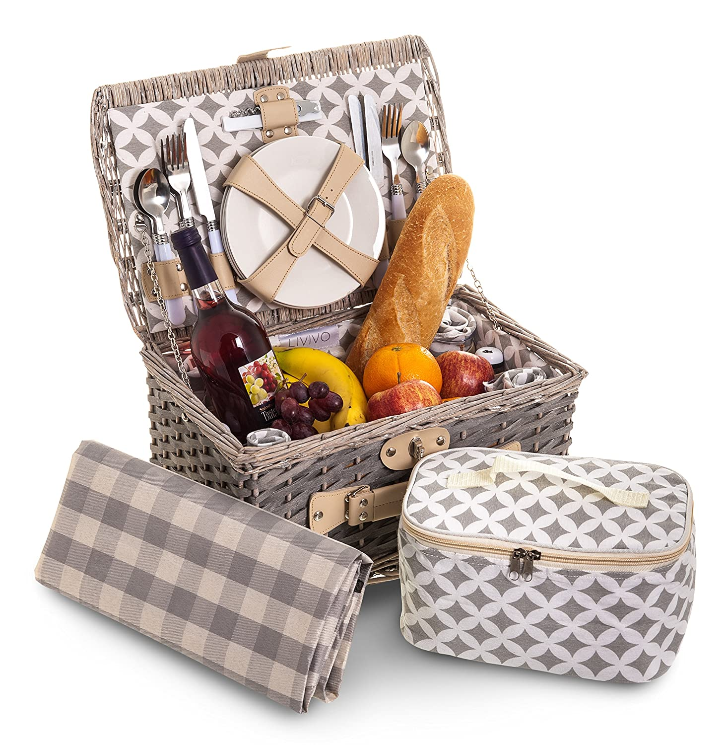Fineway 4 Person Traditional Picnic Wicker Hamper Willow Basket With Cooler Bag – Set Includes Wicker Picnic Basket, With Ceramic Plates, Glasses, Cutlery, Bottle Opener, Napkins and Cooler Bag and Picnic Blanket – Ideal for Picnics, Camping, Garden Outdo