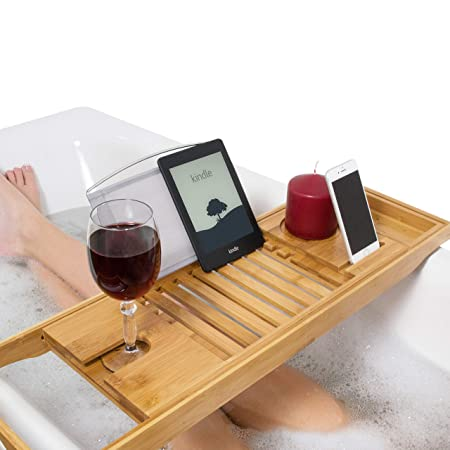 Relux Premium 100% Natural Bamboo Bath Caddy Bridge - Extendable ...
