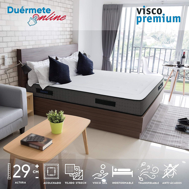 Duérmete Online - Colchón Viscoelástico Visco Premium Biogel | Altura 29cm | Alto Confort y Máxima Higiene | Tejido Sanex Antibacteriano, Gel, 150x190