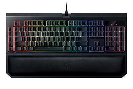 Razer BlackWidow Chroma V2: Esports Gaming Keyboard - Ergonomic Wrist Rest  - 5 Dedicated Macro Keys - Razer Yellow Mechanical Switches (Linear and