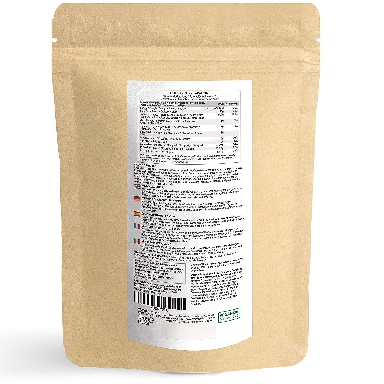 Nibs de Cacao Crudo Ecológico 1 kg. 100% Puntas de Cacao Bio ...
