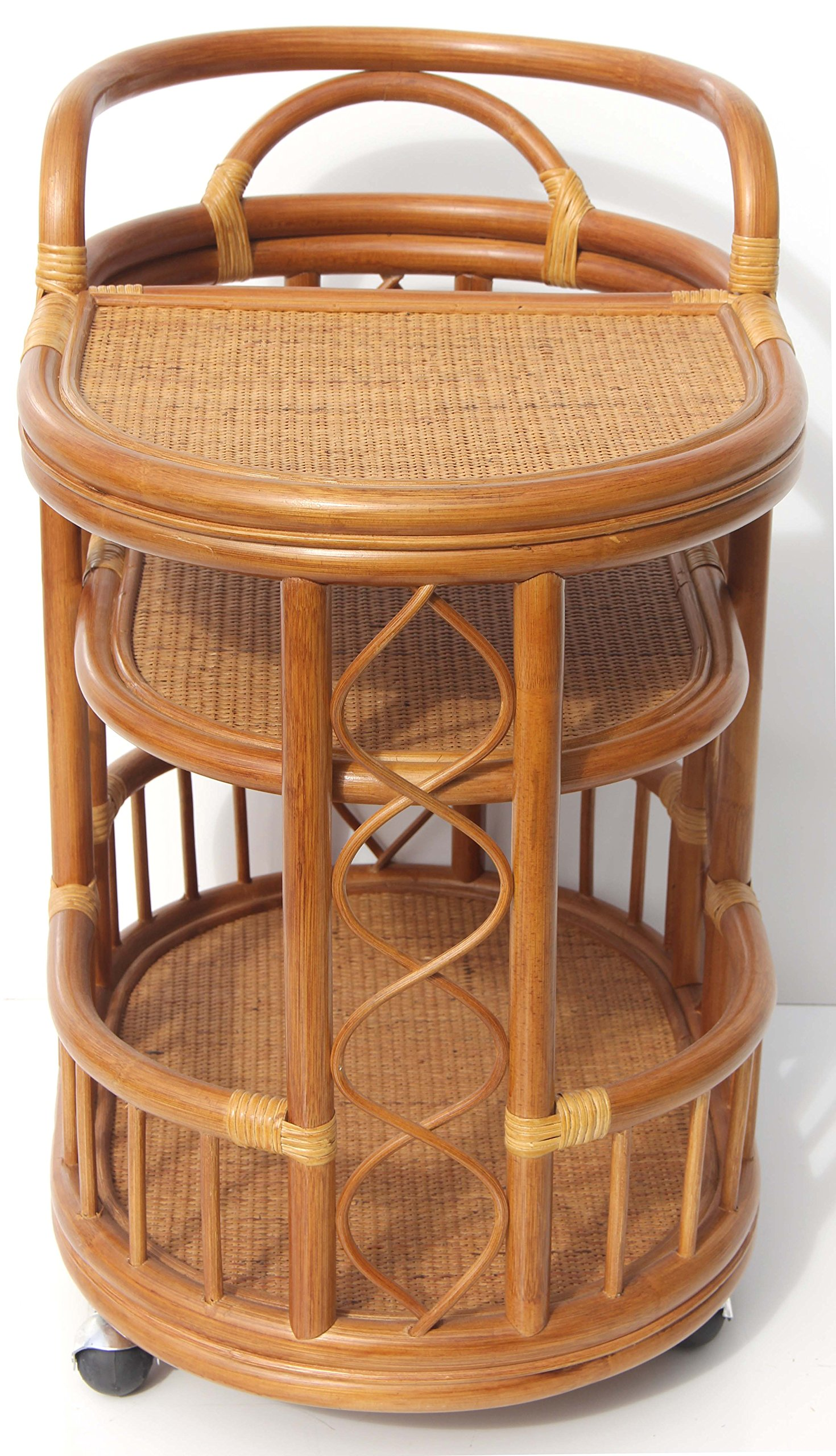 Moving Serving Cart Bar Table Natural Rattan Wicker Exclusive Handmade ECO, Cognac by SunBear Furniture (Image #5)