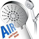AirJet-300 High Pressure Luxury 6-setting Hand Shower with High-Velocity Flow Accelerator(TM) Hydro-Engine for More Power with Less Water! Extra-Long 6 foot Stainless Steel Hose / Full Chrome Finish