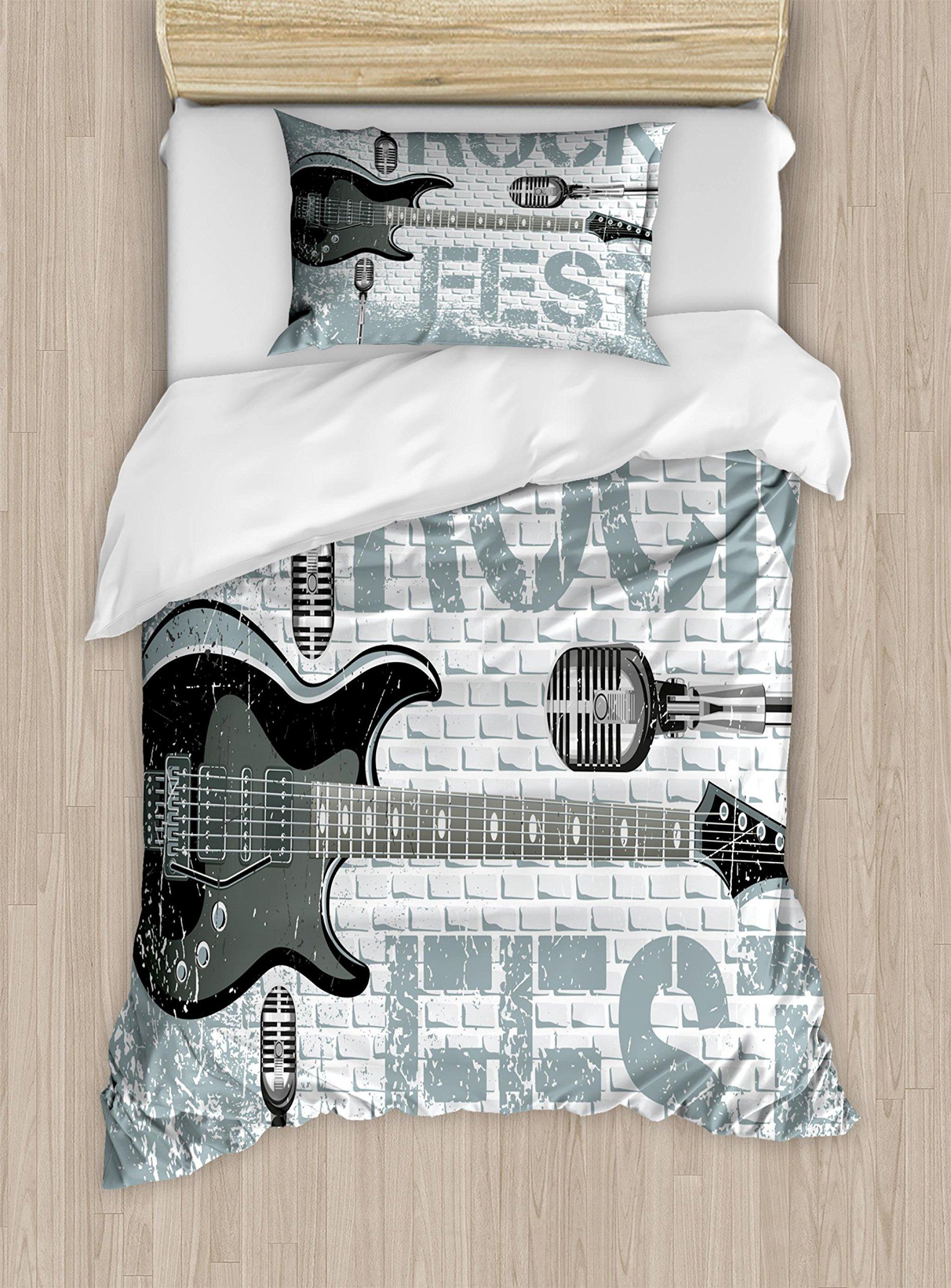 Ambesonne Rock Music Duvet Cover Set Twin Size, Grunge Color Splashed Brick Wall Background Electronic Guitar Mics Design, Decorative 2 Piece Bedding Set with 1 Pillow Sham, Blue Grey Black