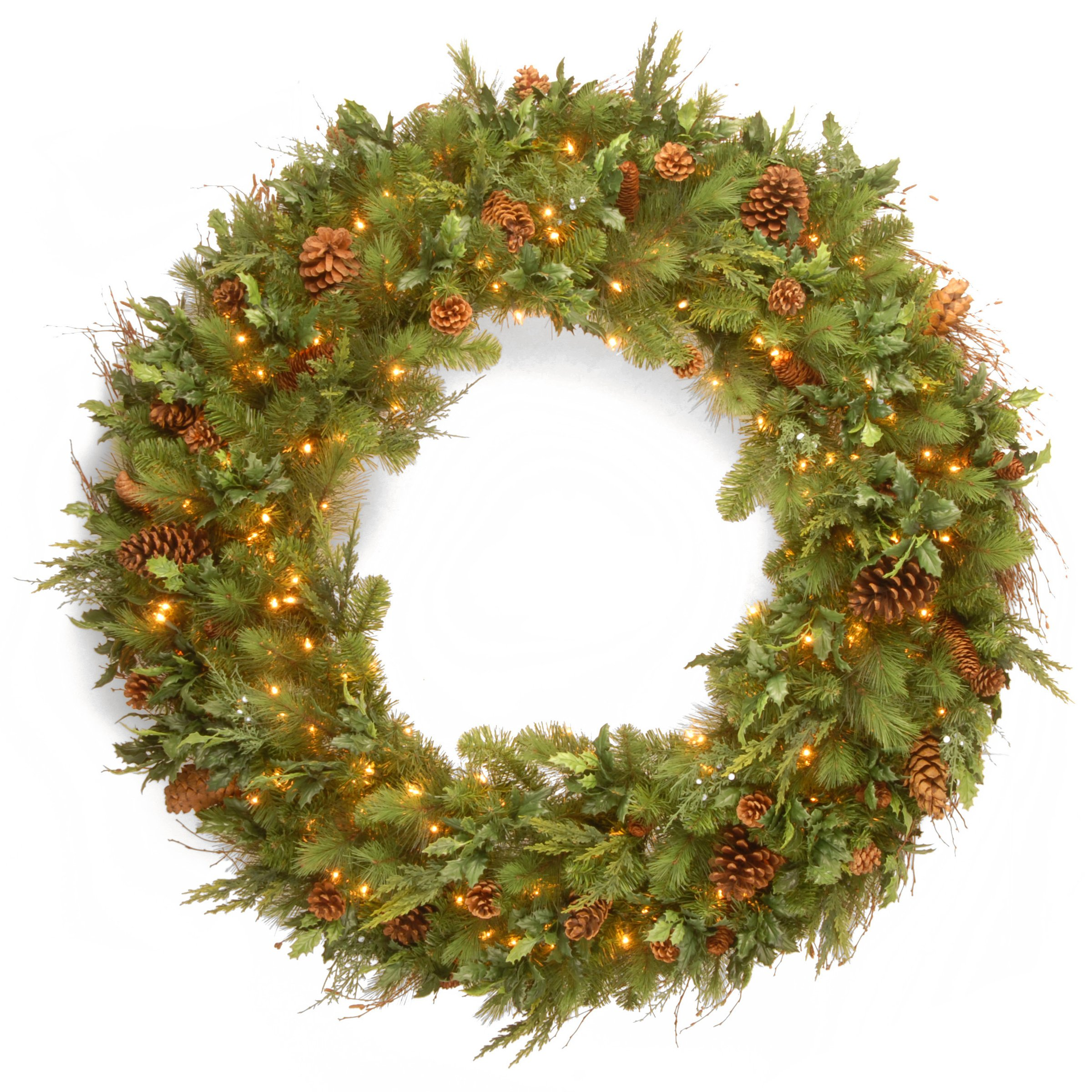 National Tree 48 Inch Juniper Pine Wreath with Mixed Pine Cones and 200 Warm White LED Lights (DC13-113L-48W-S)