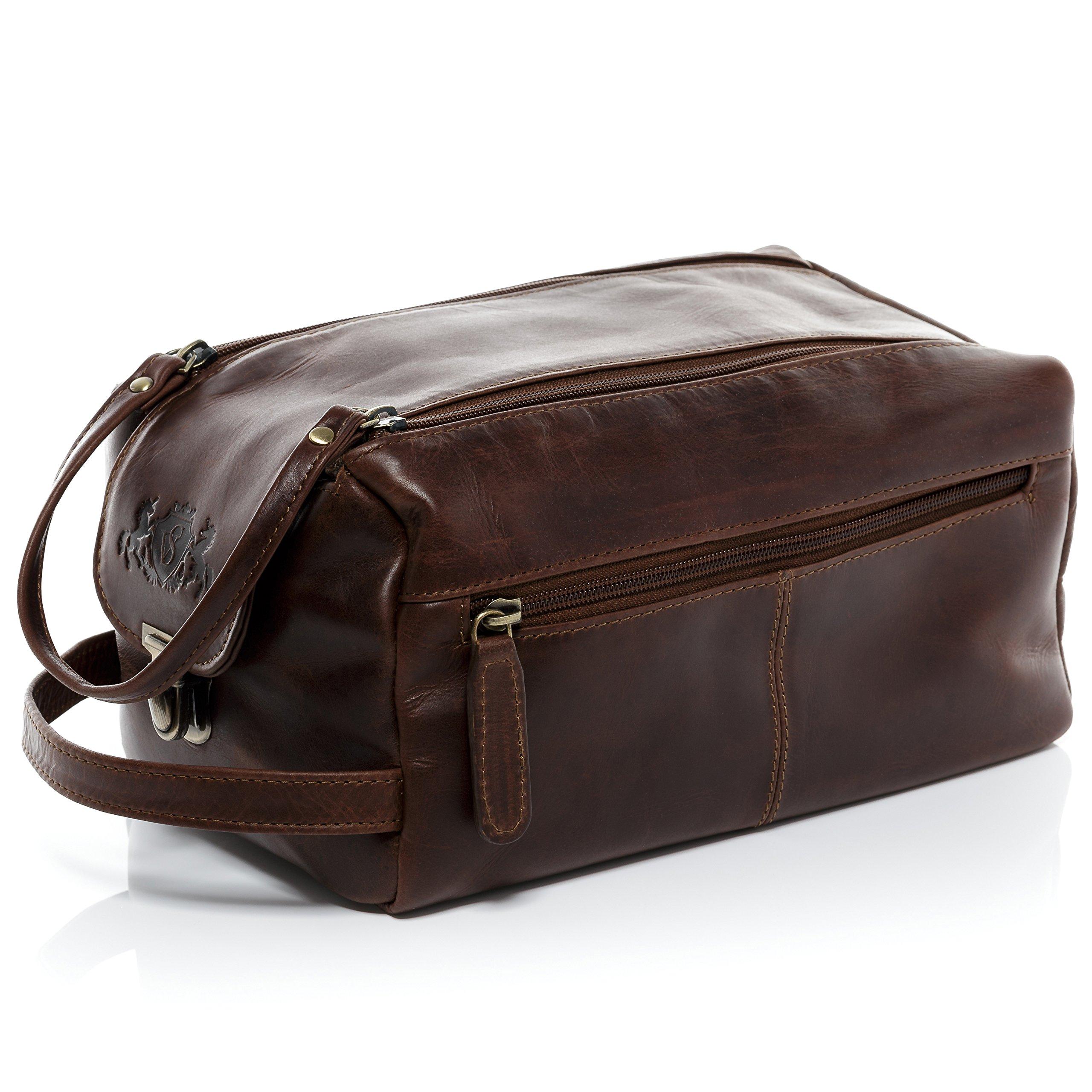 SID & VAIN Real Leather wash Bag Bristol XL Large Travel Overnight Wash Gym Shaving Bag for Men's or Ladies Toiletry Bag Women Men Brown