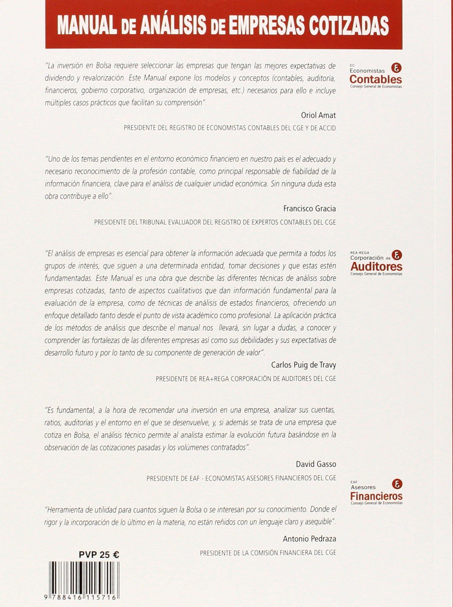Manual de análisis de empresas cotizadas: Oriol Amat; Victoria Nombela: 9788416115716: Amazon.com: Books