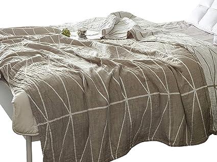 2288fd8abf Amazon.com  MEJU Stripe Muslin Lightweight Summer Blanket for Bed ...
