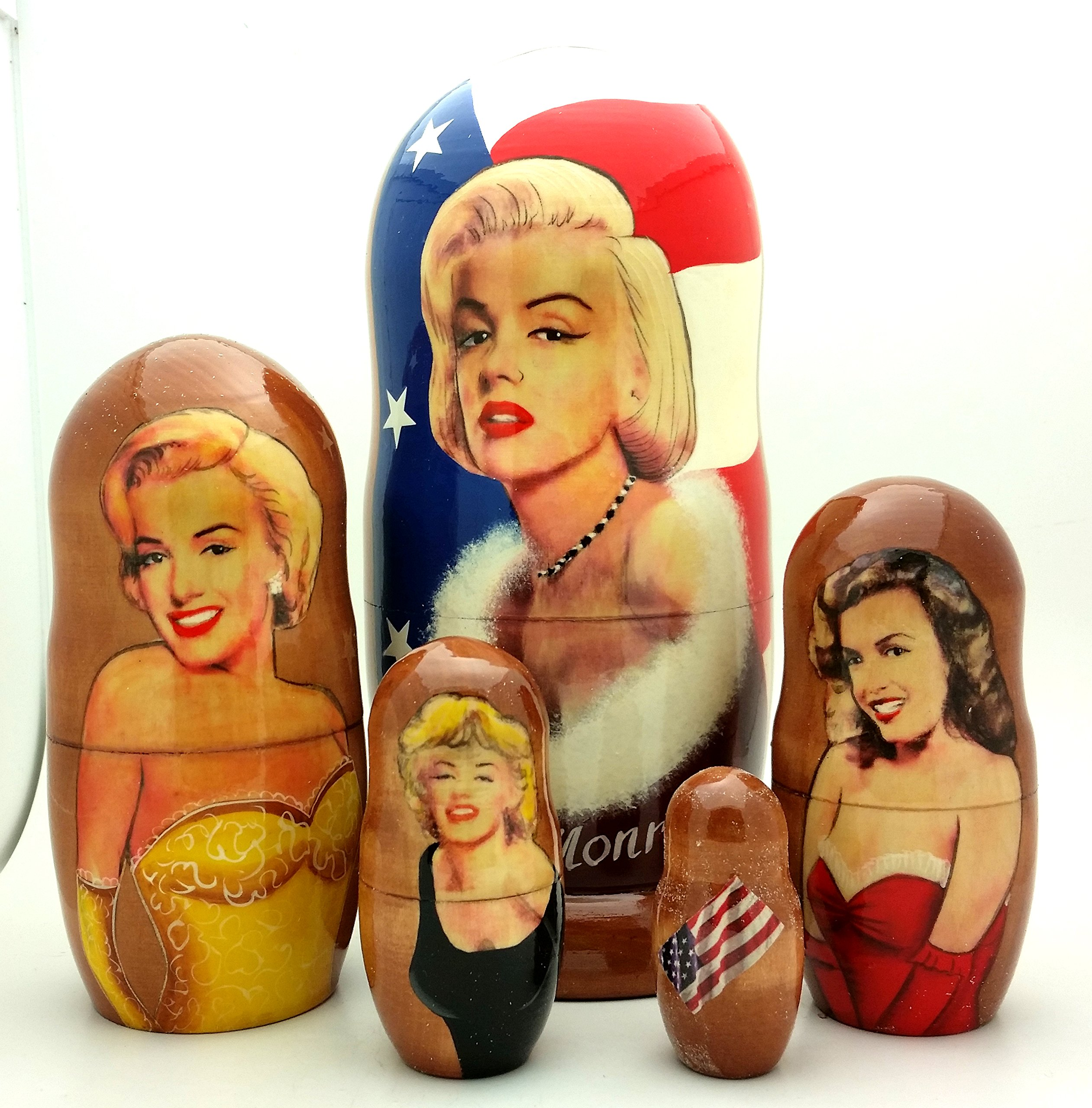 BuyRussianGifts Marilyn Monroe Russian Nesting Doll 5 Piece Set 7'' H by BuyRussianGifts
