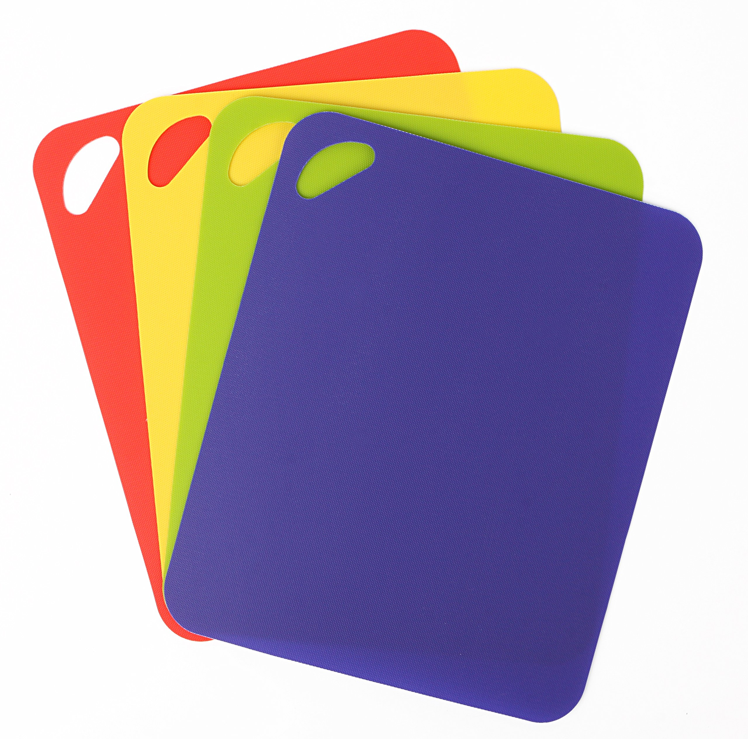 Dexas Heavy Duty Grippmat Flexible Cutting Board Set of Four, 11.5 by 14 inches, Blue, Green, Yellow, Red by Dexas